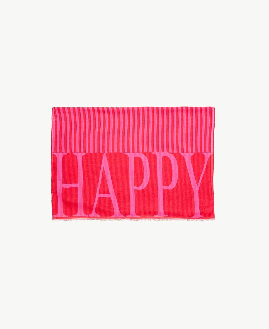 """Sciarpa righe Stampa """"Happy"""" Silk Fucsia Donna RS8T2A-02"""