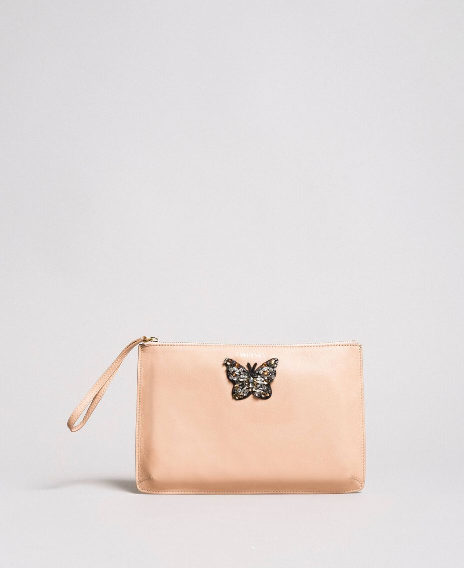 Leather clutch bag with butterfly Nougat Beige Woman 191TA7290-02