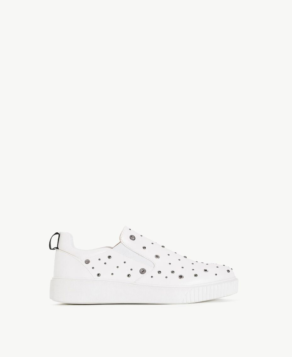 TWINSET Studded slip-on shoes White Woman DS8PBA-01