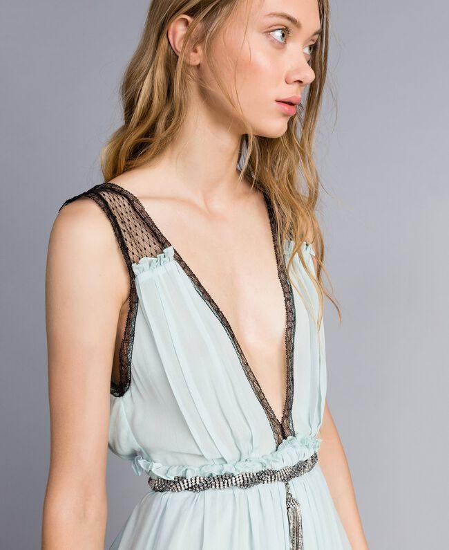 """Kleid mit floralem Print Blau """"Wasser"""" Frau QA8TNB-04"""