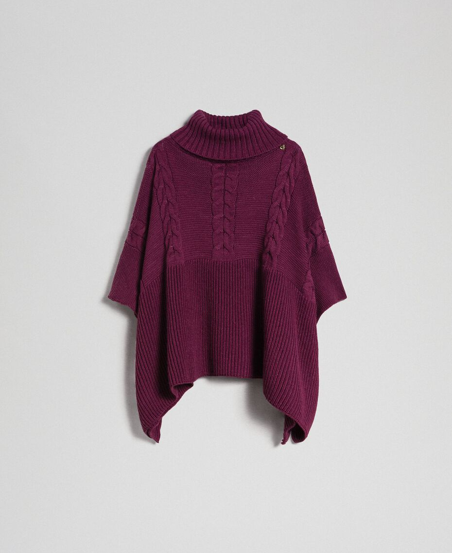 Cable and rib knit poncho Burgundy Red Woman 192MO530J-0S