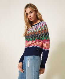 Multicolour jacquard jumper with embroidery Midnight Blue Woman 202MP3080-02