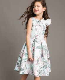 """Цветочное платье из королевского атласа """"Water"""" Светло-Голубой Растительный Принт Pебенок 191GJ2QN0-0S"""