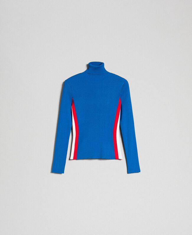 Ribbed turtleneck with colour block bands Curaçao Blue Woman 192MT3010-0S