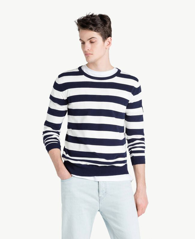 Pull rayures Bicolore Blanc Opaque / Bleu Blackout Homme US8317-01