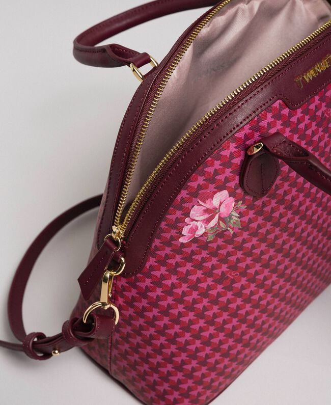 Faux leather printed bowler bag Beet Red Butterfly Floral Print Woman 192TA7015-04