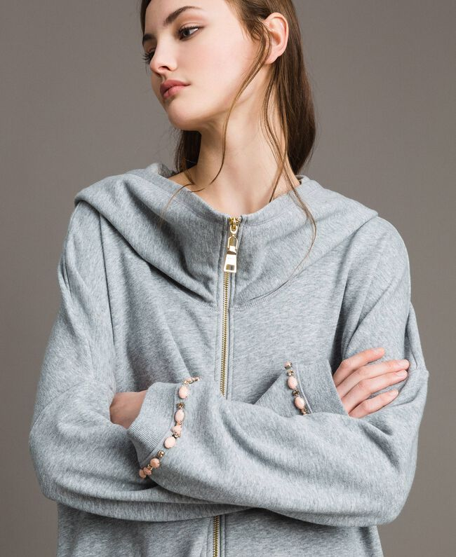 Fleece parka with bezels and rhinestones Light Gray Mélange Woman 191MP2321-05