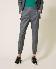 Pantalon de jogging en laine mélangée Rayé Gris Chiné / Argent «Lurex» Femme 202TT2173-02