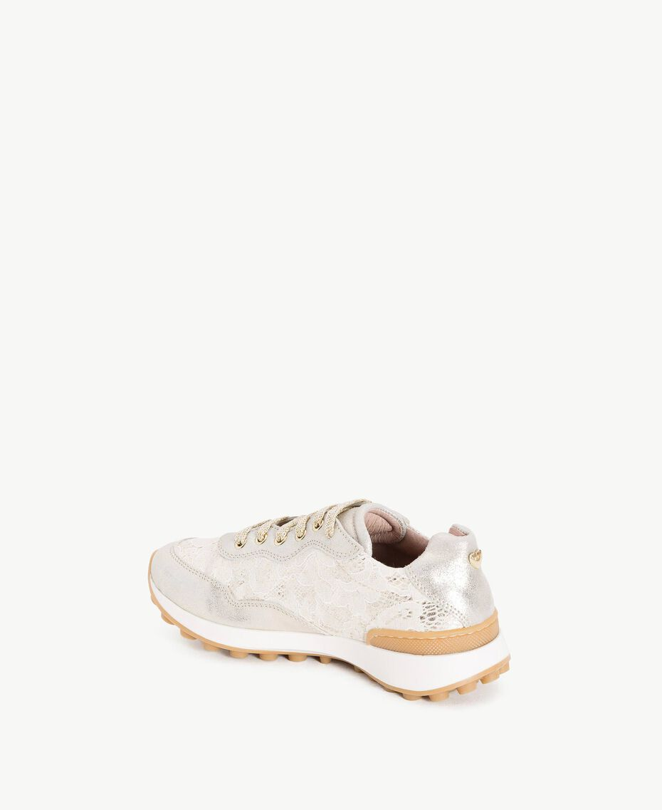 Lace running shoes Pale Cream Child HS88AN-03