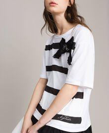 Maxi T-shirt  a righe con fiocco Panna White Donna 191MP206C-04