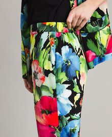 Marocain-Hose mit Blumenmuster Motiv Schwarzer Garten Frau 191TT2471-05