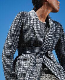 Double wool cloth reversible coat Black / Snow White Check Design Woman 202TP205C-05