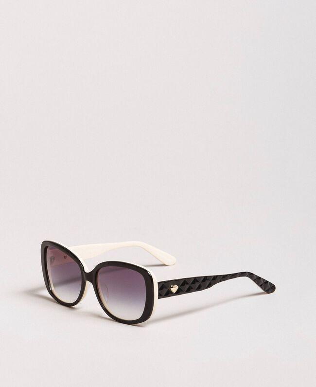 Katzenaugen-Sonnenbrille Schwarz Frau 999TZ4010-01