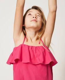 Top volanté en popeline Rose «Fuchsia Violet» Enfant 211GJ2237-05