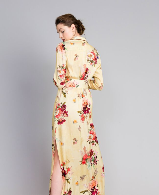 "Langes Hemdblusenkleid aus geblümtem Satin Print ""Tea Garden"" Rosa Frau PA829S-03"