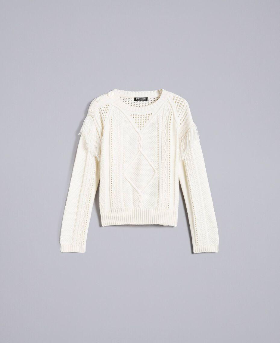 Pullover aus Wollmischung mit Fransen Weiß Schnee Frau PA83BA-0S