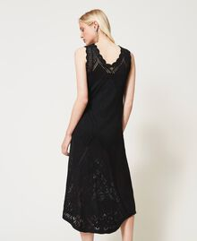 Long crochet dress with embroidery Black Woman 211TT3102-04