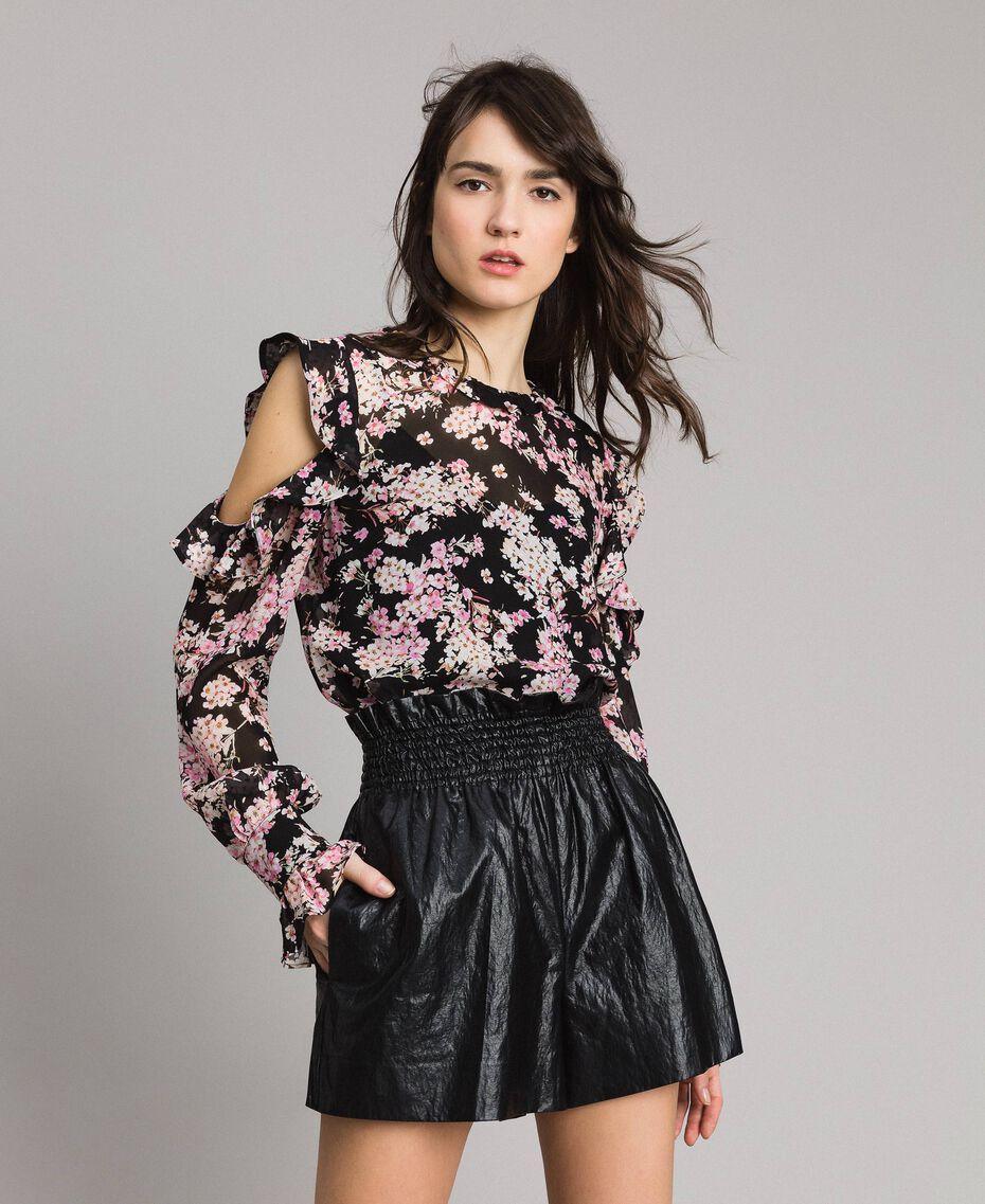 """Blouse en georgette à imprimé floral Imprimé Noir Rose """"Bouquet Rose"""" Femme 191TP2715-01"""
