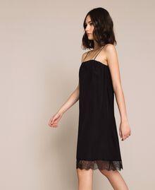 Robe nuisette avec dentelle Noir / Noir Femme 201MT2282-02
