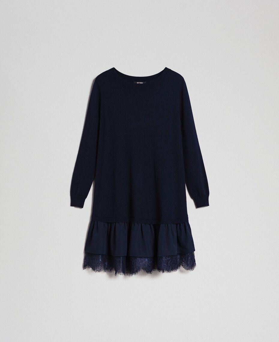 Wool blend dress with lace Indigo Woman 192MT3281-0S