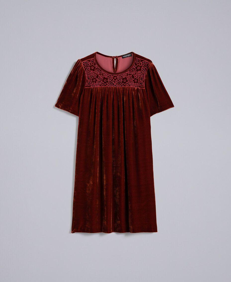 Tunikakleid aus Samt Bordeaux Frau PA823B-0S