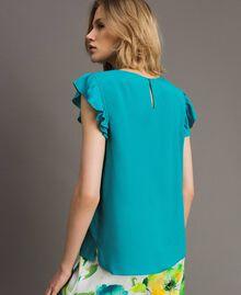 Bluse mit Volants aus Seidenmischung Keramikblau Frau 191TT207A-04