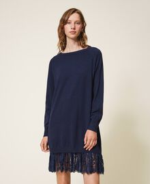 Knitted dress with lace hem Blackout Blue Woman 202LI3RFF-02