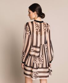 Creponne dress with stripes and flower print Floral Print over Snow/ Black Stripes Woman 201TP2301-03