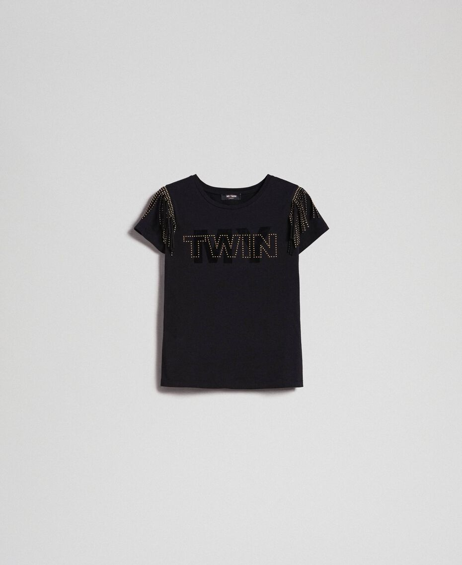 Flocked logo T-shirt with studs and fringes Black Woman 192MP2450-0S
