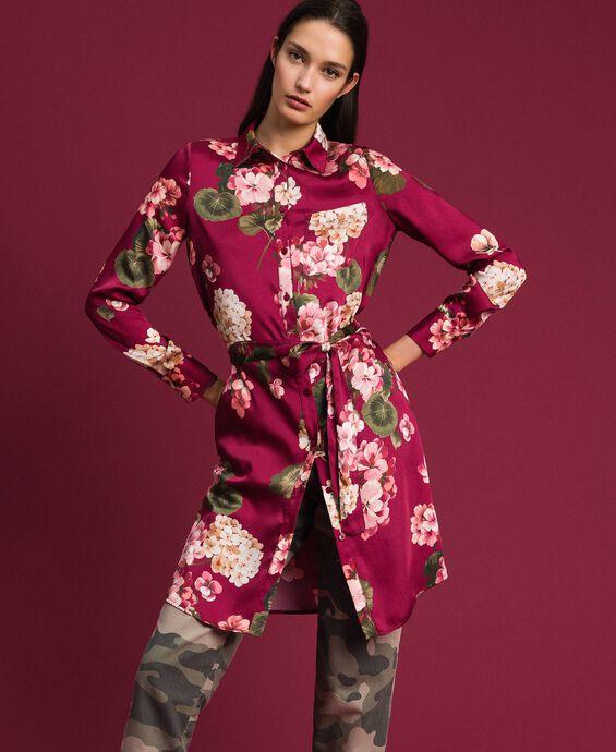 Длинная рубашка с цветочным принтом