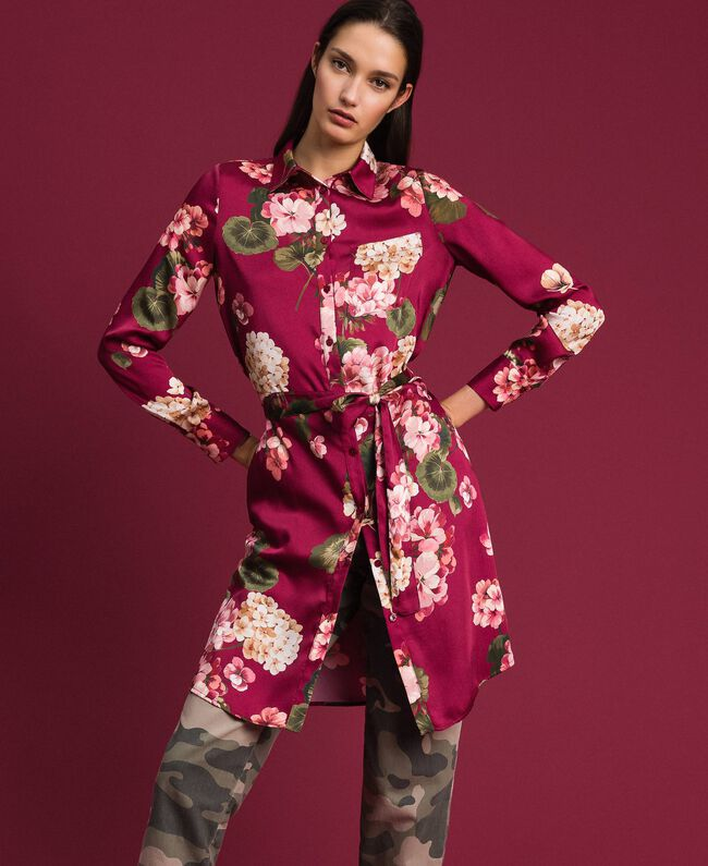 Chemise longue avec imprimé floral Imprimé Rouge Betterave Géranium Femme 192TP2608-01