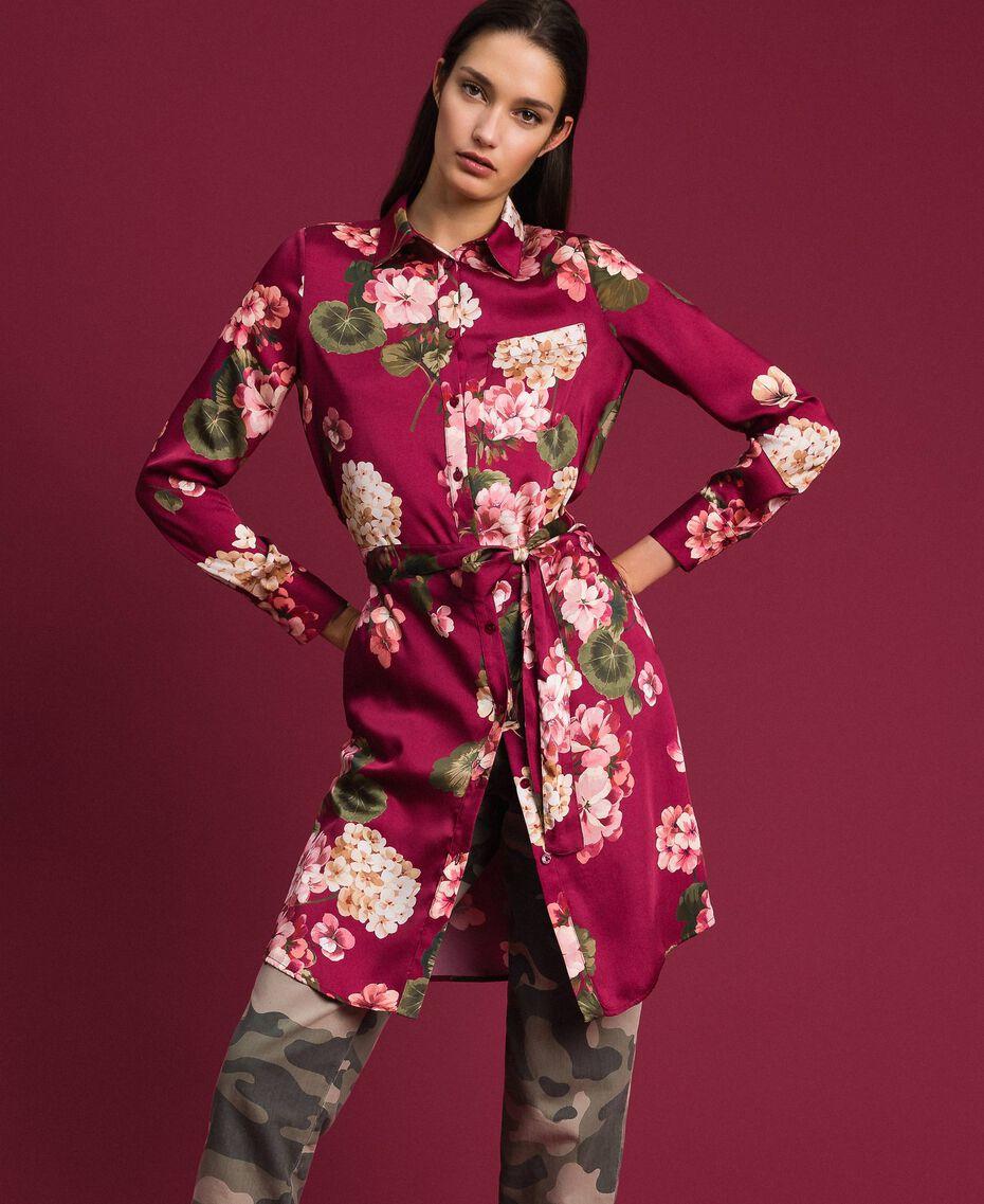 Camisa larga con estampado de flores Estampado Rojo Beet Geranio Mujer 192TP2608-01