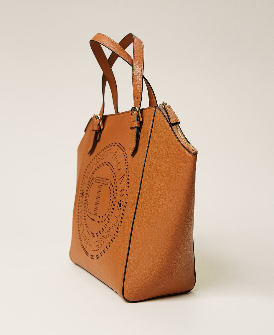 Shopper with openwork logo Leather Brown Woman 212TB7260-02