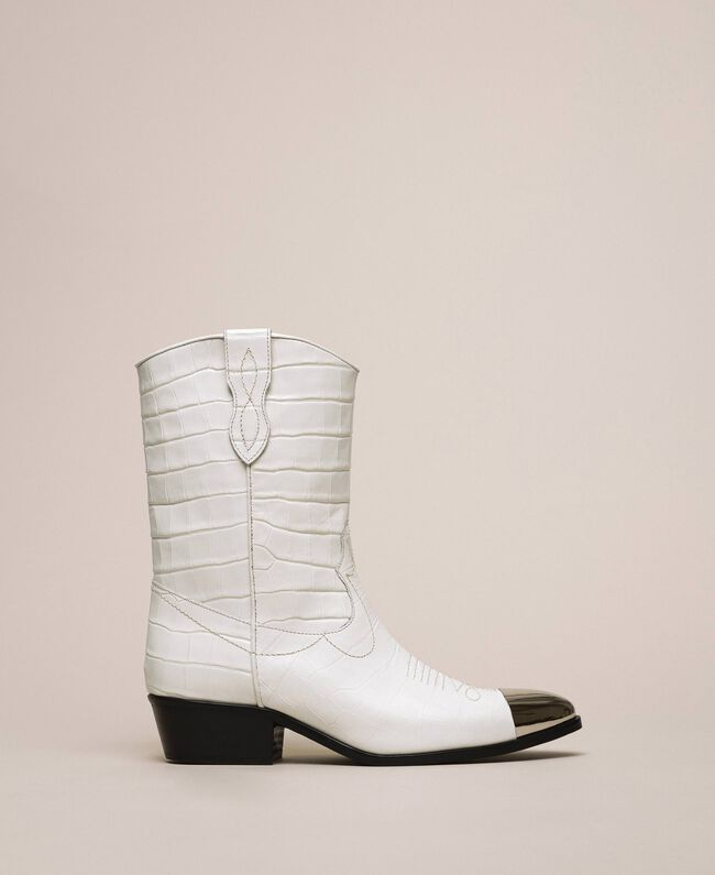 "Leather Texas boots with crocodile print ""Snow"" White Crocodile Print Woman 201TCP040-01"