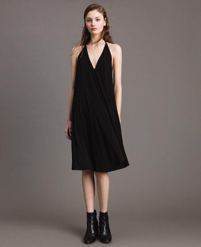 Robe asymétrique en jersey crêpé Noir Femme 191LB22QQ-0T