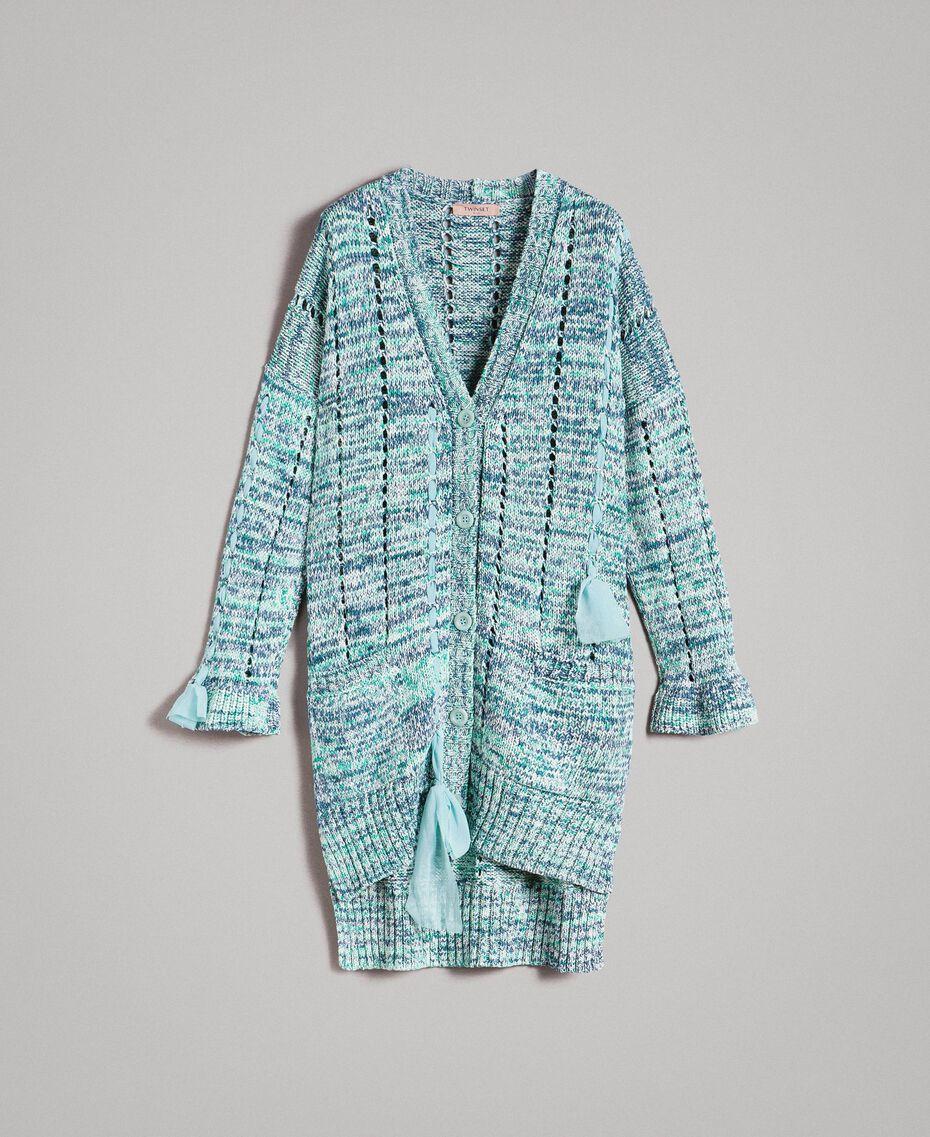 """Maxi cardigan avec rubans Multicolore Fantaisie Bleu """"Mikonos"""" Femme 191TP3280-0S"""