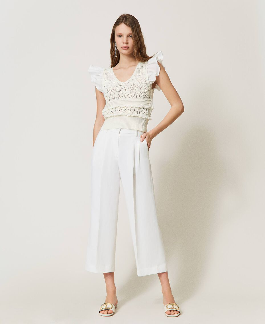Top de punto crochet con flecos White Nieve Mujer 211TT3110-02