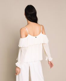 Pleated georgette blouse Antique White Woman 201TT2090-03