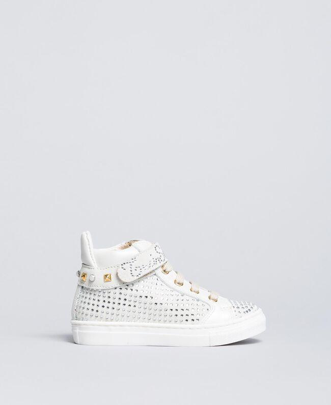 Baskets en cuir et strass Off White Enfant HA88DA-01