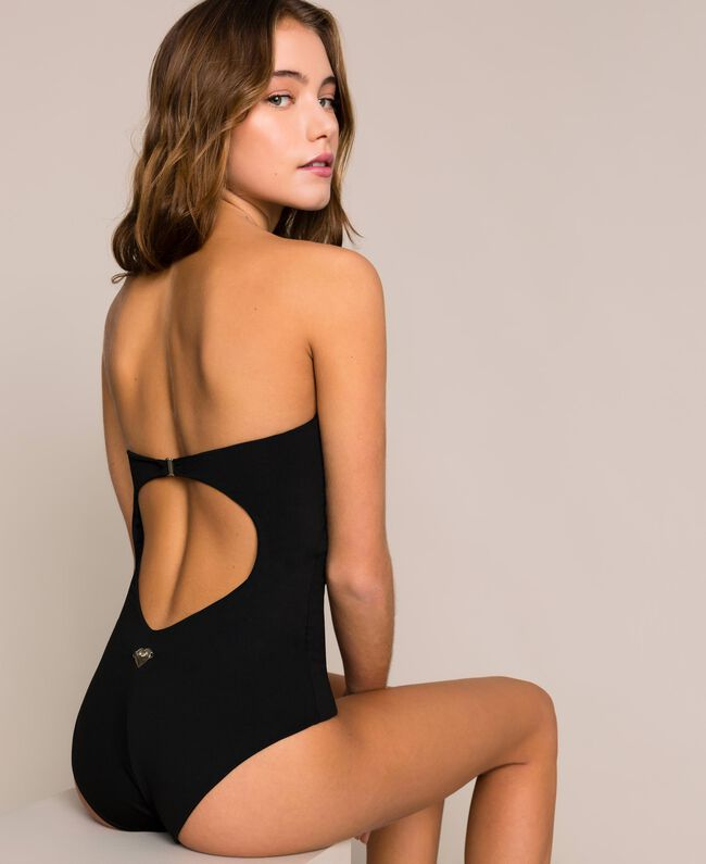 One-piece swimsuit with sequins Black Woman 201LBM100-03