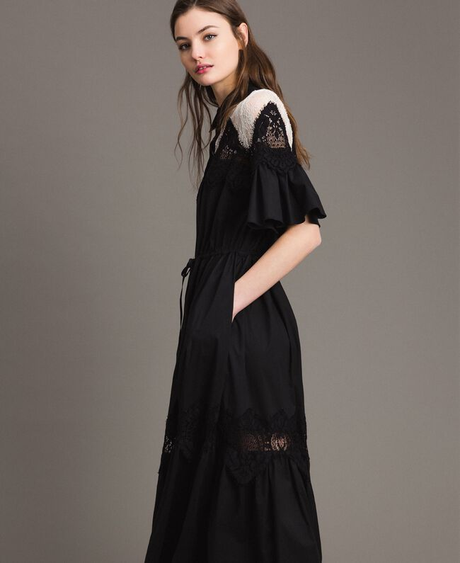 Poplin long shirt dress with lace Black Woman 191TT2122-04