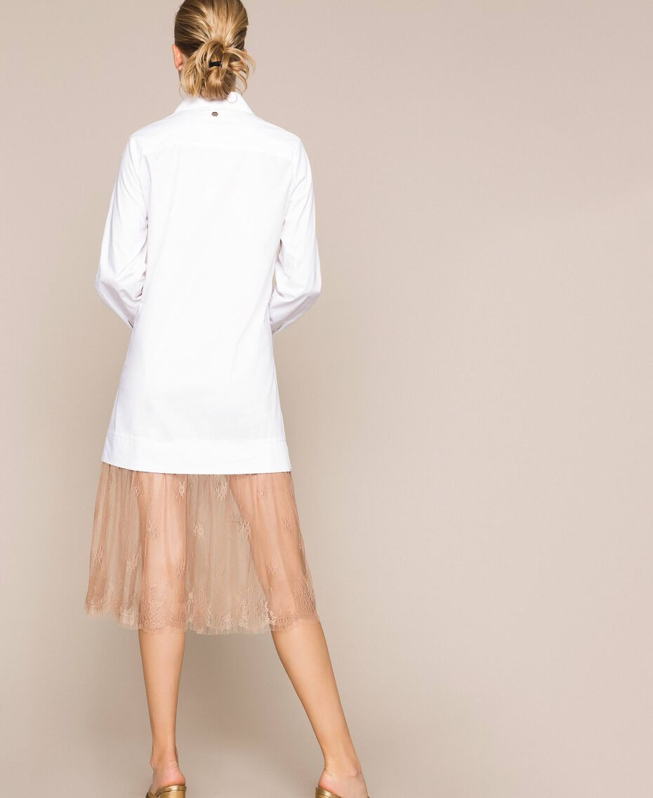 Poplin and lace shirt dress Two-tone Optical White / Light Brown Woman 201ST2028-03