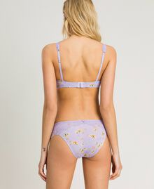 Floral briefs with lace Lilac Mini Flowers Print Woman 191LL6A66-03