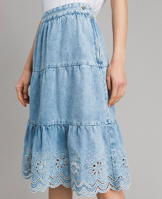 Mid-length skirt with broderie anglaise and flounces Denim Blue Woman 191MP2011-04