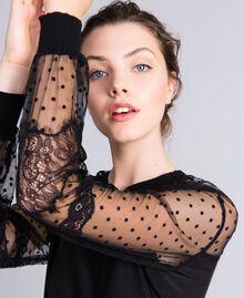 Maxi crêpe de Chine silk sweatshirt Black Woman PA82B4-04