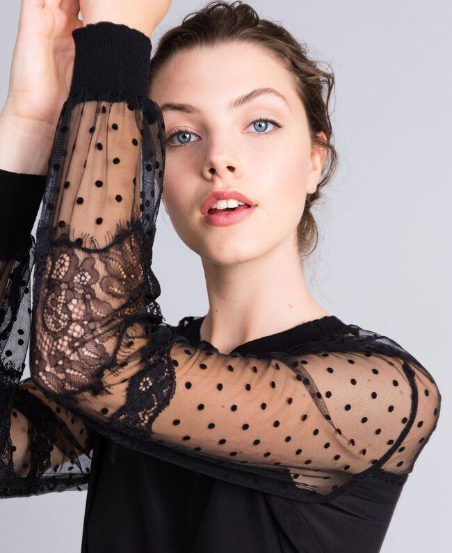 Maxi sweat en crêpe de Chine de soie Noir Femme PA82B4-04