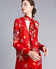 Floral print georgette blouse Red Garden Print Woman PA8274-01