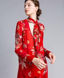 Blouse en crêpe georgette floral Imprimé Jardin Rouge Femme PA8274-01