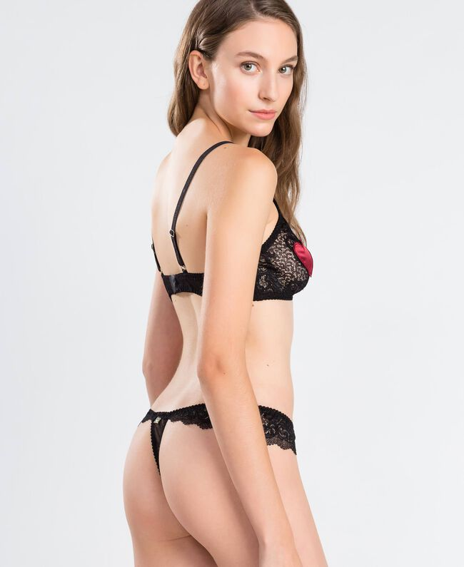 Tulle plumetis and lace thong Black Woman LA8A88-03