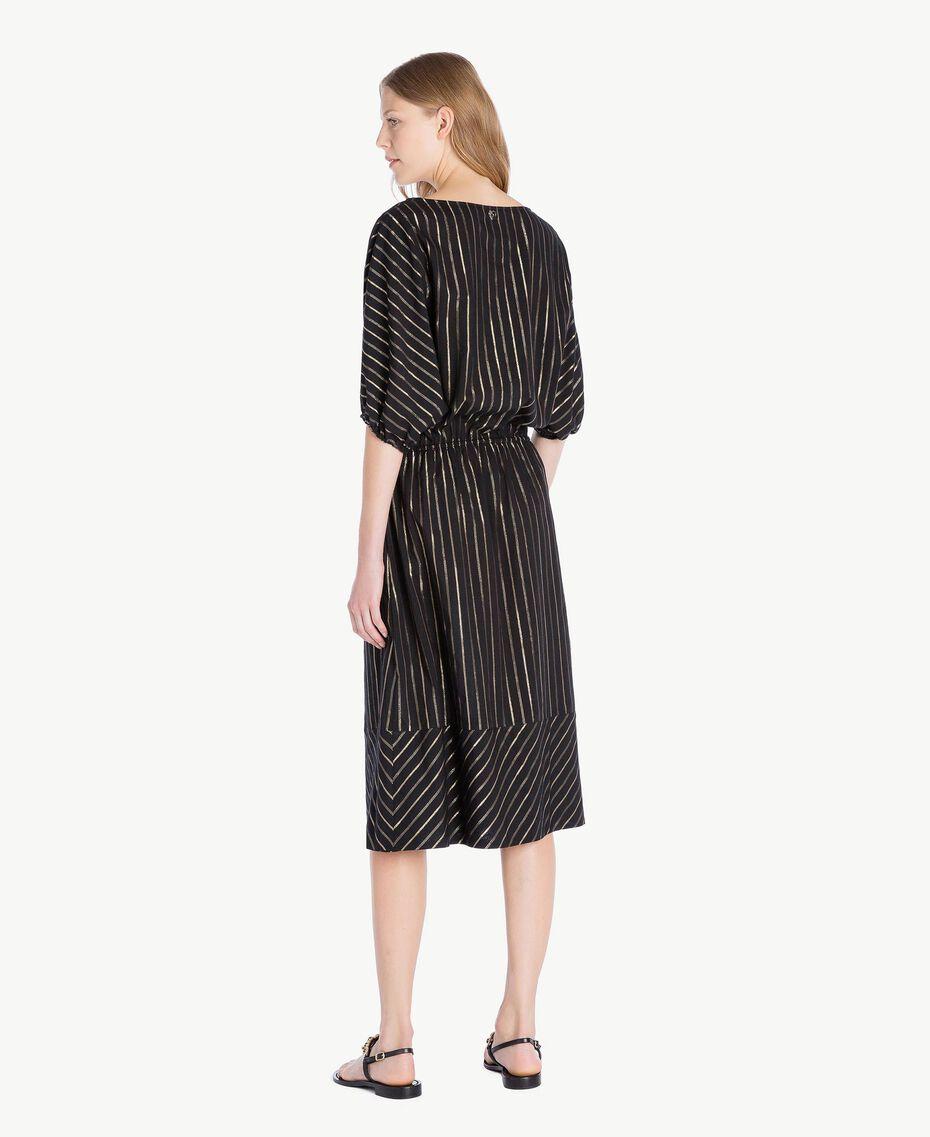 Kleid aus Jacquard Jacquard Schwarz / Goldene Streifen Frau TS82VC-03